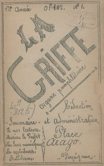 Photo (BnF / Gallica) de : La Griffe. Perpignan, 1894-[1894 ?]. ISSN 2129-0156.