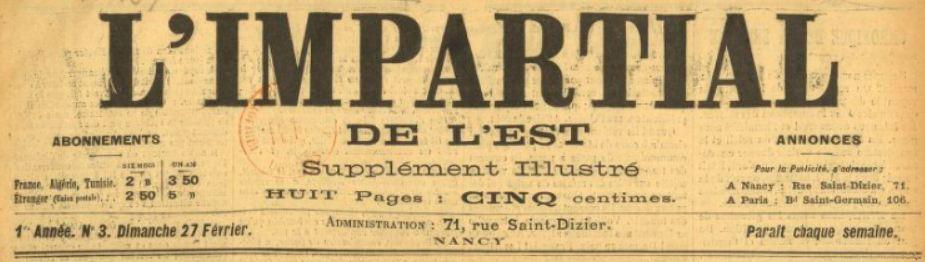 Photo (BnF / Gallica) de : L'Impartial de l'Est. Supplément illustré. Nancy, 1898-[1910 ?]. ISSN 1960-470X.