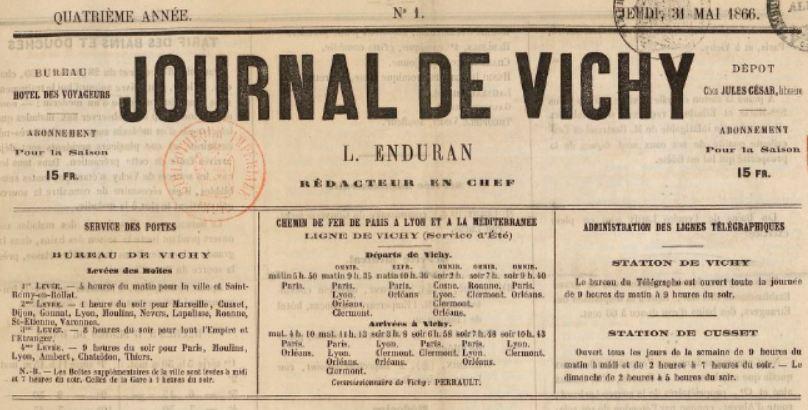 Photo (BnF / Gallica) de : Journal de Vichy. Vichy, Cusset, [1863 ?-1866 ?]. ISSN 2130-6761.