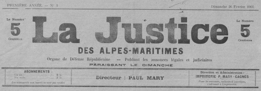 Photo (BnF / Gallica) de : La Justice des Alpes-Maritimes. Cagnes-sur-Mer, 1905. ISSN 2131-0599.