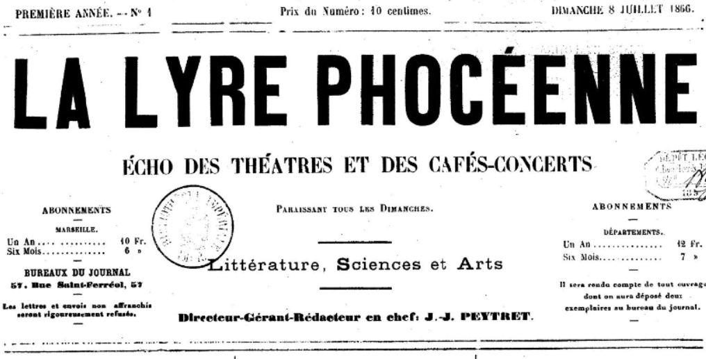 Photo (BnF / Gallica) de : La Lyre phocéenne. Marseille, 1866-[1867 ?]. ISSN 2131-7631.