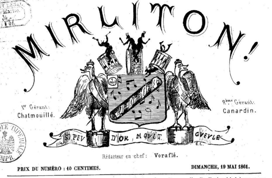 Photo (BnF / Gallica) de : Mirliton !. [s.l.], 1861. ISSN 2132-3127.