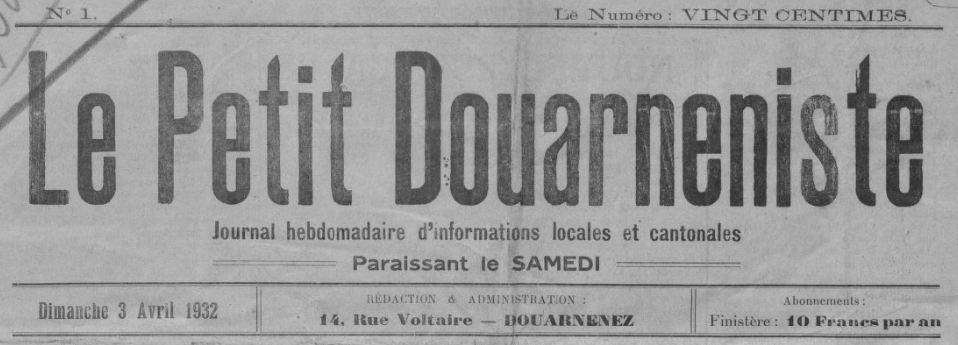 Photo (BnF / Gallica) de : Le Petit Douarneniste. Douarnenez, 1932-1933. ISSN 2134-0994.