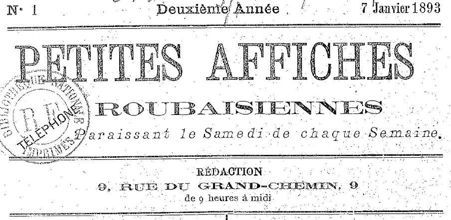 Photo (BnF / Gallica) de : Petites affiches roubaisiennes. Roubaix, 1892-1900. ISSN 2134-7581.