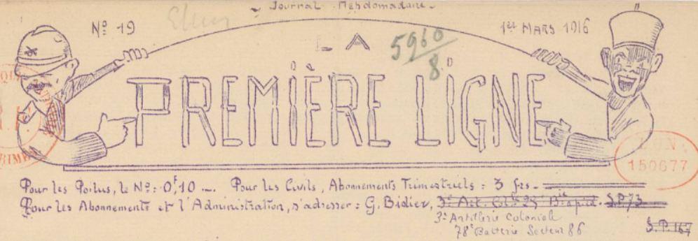Photo (BnF / Gallica) de : La Première ligne. [Verdun], 1915-1919. ISSN 2135-2038.