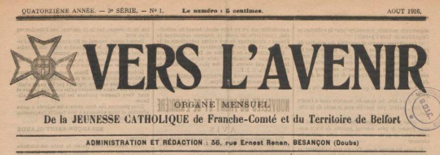 Photo (BnF / Gallica) de : Vers l'avenir. Besançon, 1904-[1939 ?]. ISSN 2025-4652.