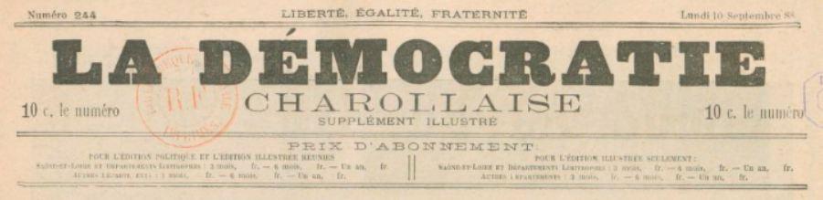 Photo (BnF / Gallica) de : La Démocratie charollaise. Supplément illustré. Charolles, [1888 ?-1891 ?]. ISSN 2125-6500.
