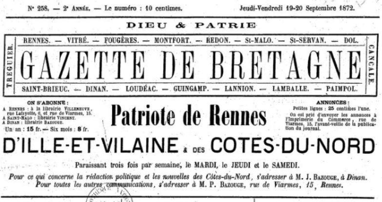 Photo (BnF / Gallica) de : Gazette de Bretagne. Dinan, Rennes, [1872 ?]-1881. ISSN 1963-7497.
