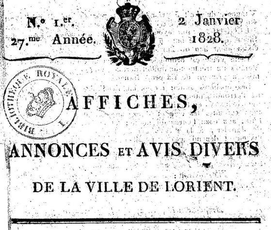 Photo (BnF / Gallica) de : Affiches, annonces et avis divers de la ville de Lorient. Lorient, [1828 ?-1830 ?]. ISSN 2120-3717.