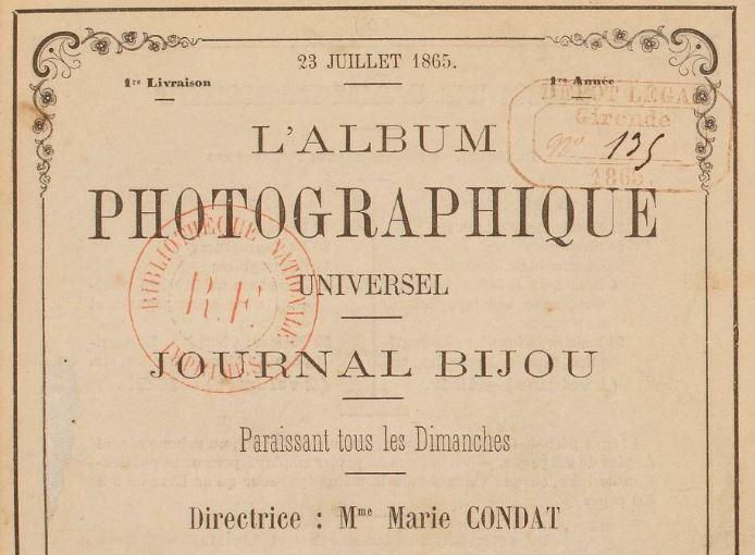Photo (BnF / Gallica) de : L'Album photographique universel. Bordeaux, 1865-1866. ISSN 2120-5515.