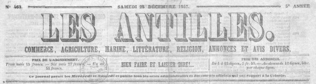 Photo (BnF / Gallica) de : Les Antilles. Saint-Pierre-Martinique, 1843-[1883 ?]. ISSN 2426-1890.