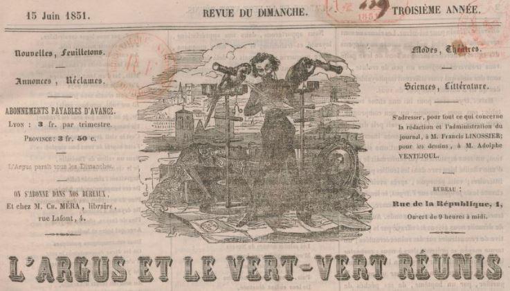 Photo (BnF / Gallica) de : L'Argus et le Vert-vert réunis. Lyon, 1849-[1873?]. ISSN 2021-2313.