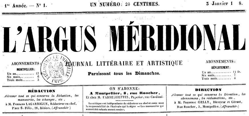 Photo (BnF / Gallica) de : L'Argus méridional. Montpellier, 1858-[1860 ?]. ISSN 2106-1858.