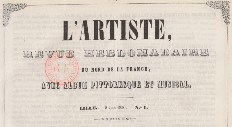 Photo (BnF / Gallica) de : L'Artiste. Lille, 1850-1851. ISSN 2016-0062.