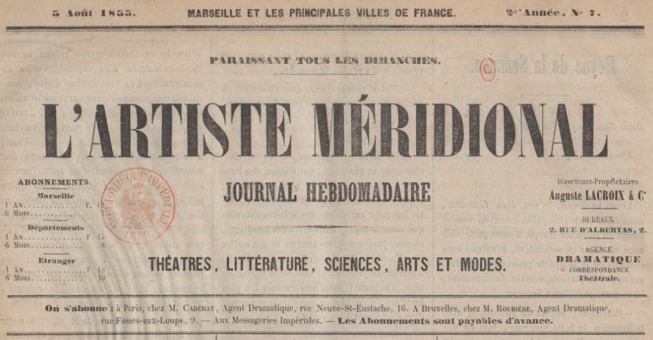 Photo (BnF / Gallica) de : L'Artiste méridional. Marseille, 1854-[1856 ?]. ISSN 2108-0755.