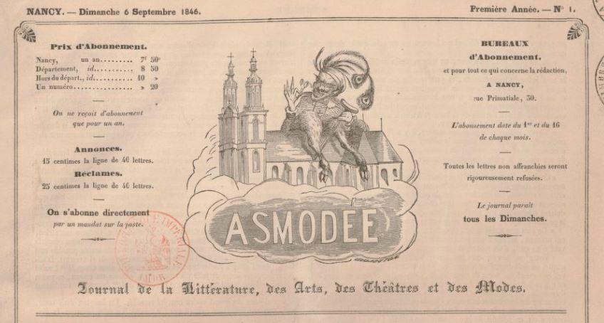 Photo (BnF / Gallica) de : Asmodée. Nancy: Impr. de Dard, 1846-1848. ISSN 2100-4722.