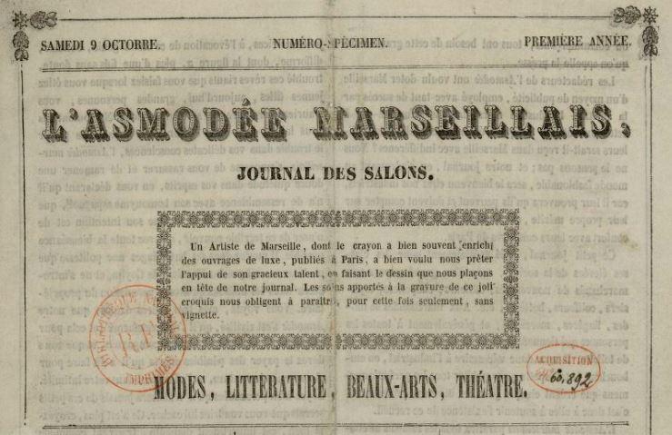 Photo (BnF / Gallica) de : L'Asmodée marseillais. Marseille: Impr. Carnaud fils, 1841-[1843 ?]. ISSN 2121-0462.