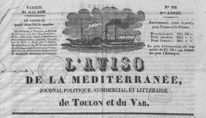 Photo (BnF / Gallica) de : L'Aviso de la Méditerranée. Toulon, 1829-[1830 ?]. ISSN 2016-1131.