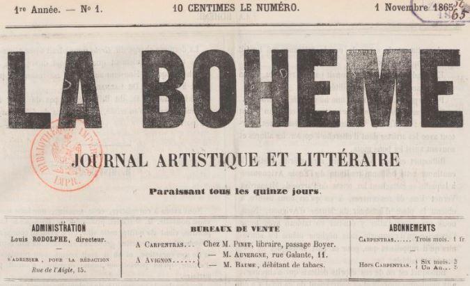 Photo (BnF / Gallica) de : La Bohême. Carpentras, 1865-1866. ISSN 2122-0395.