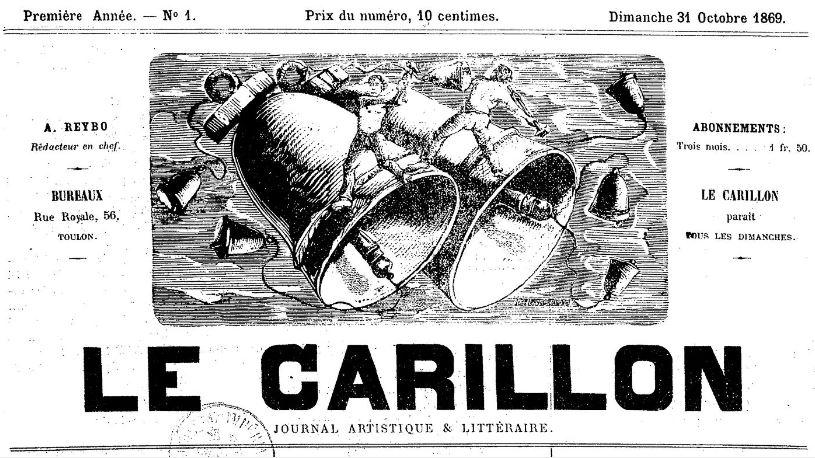 Photo (BnF / Gallica) de : Le Carillon. Toulon, 1869-[1874 ?]. ISSN 2016-6206.