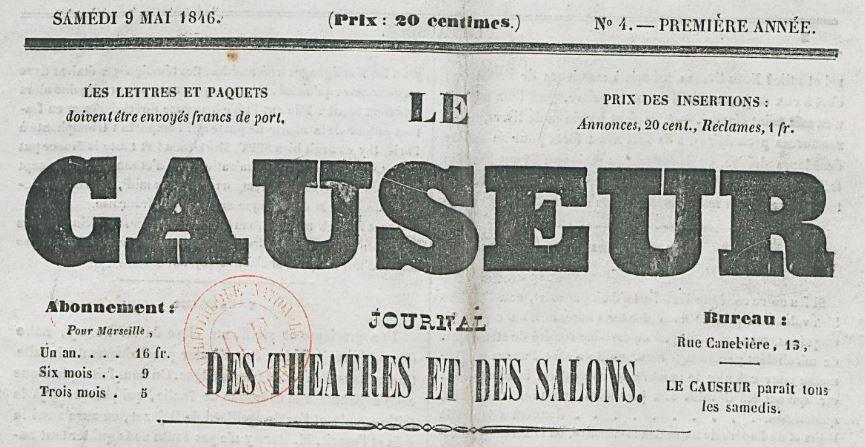 Photo (BnF / Gallica) de : Le Causeur. Marseille, 1846. ISSN 2123-5481.