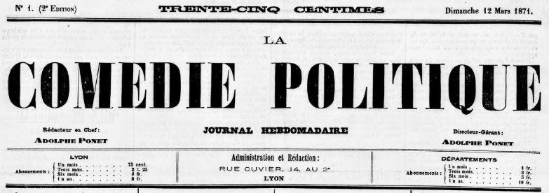 Photo (BnF / Gallica) de : La Comédie politique. Lyon, 1871-1904. ISSN 2124-1694.