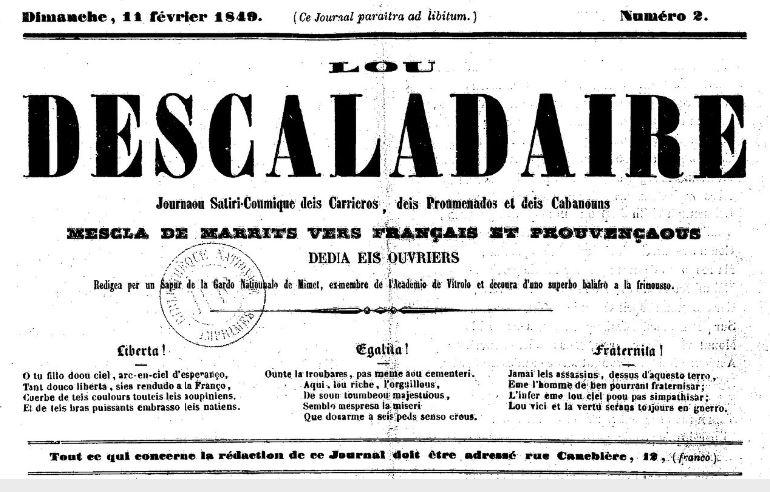 Photo (BnF / Gallica) de : Lou Descaladaire. Marseille: Impr. nationale associations d'ouvriers, 1848-1849. ISSN 2108-0054.