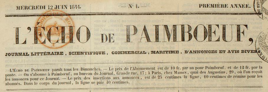 Photo (BnF / Gallica) de : L'Écho de Paimbœuf. Paimboeuf, 1844-1944. ISSN 2126-3922.