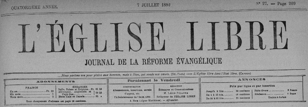 Photo (BnF / Gallica) de : L'Église libre. Nice: Librairie internationale, 1869-1928. ISSN 1245-7078.