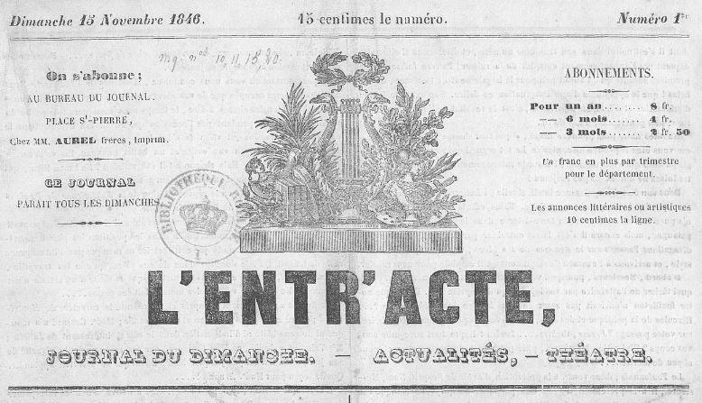 Photo (BnF / Gallica) de : L'Entr'acte. Toulon, 1846-1847. ISSN 2127-3146.