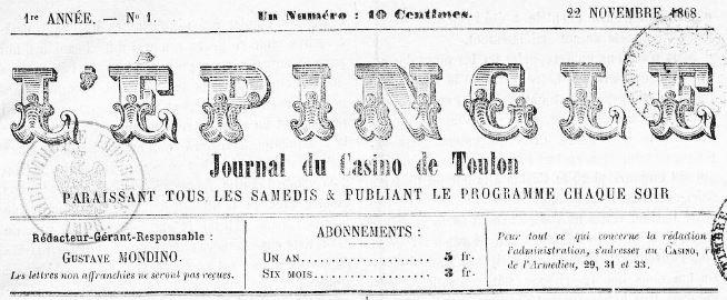 Photo (BnF / Gallica) de : L'Épingle. Toulon, 1868-[1868 ?]. ISSN 2127-3634.
