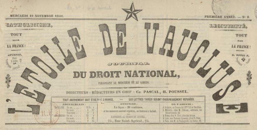 Photo (BnF / Gallica) de : L'Étoile de Vaucluse. Avignon, [1851 ?]. ISSN 2127-5548.