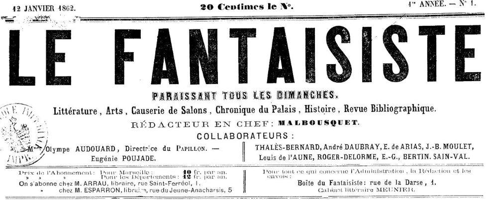 Photo (BnF / Gallica) de : Le Fantaisiste. Marseille, 1862. ISSN 2127-8083.