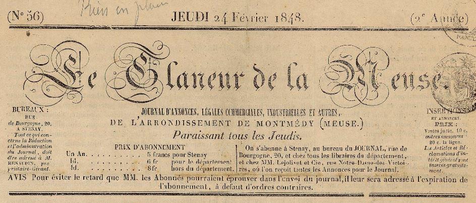 Photo (BnF / Gallica) de : Le Glaneur. Stenay, 1847-1848. ISSN 2128-9018.