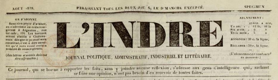 Photo (BnF / Gallica) de : L'Indre. Argenton, 1849. ISSN 1966-0669.