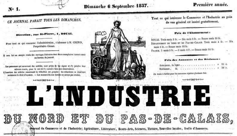 Photo (BnF / Gallica) de : L'Industrie du Nord et du Pas-de-Calais. Douai: L. Crépin, 1857-1870. ISSN 2017-2451.