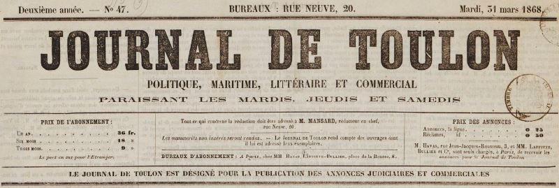 Photo (BnF / Gallica) de : Journal de Toulon. Toulon, 1867-1868. ISSN 2130-6478.