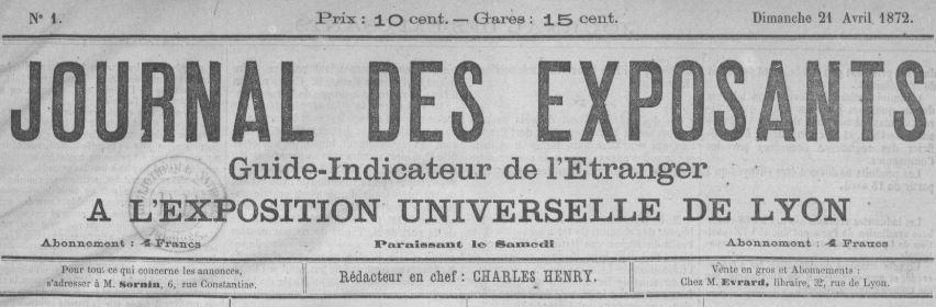 Photo (BnF / Gallica) de : Journal des exposants. Lyon, 1872. ISSN 2130-7326.