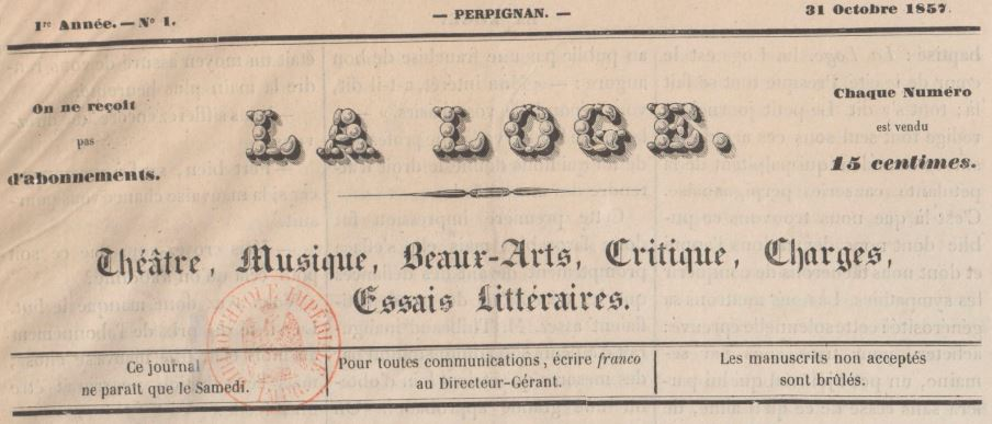Photo (BnF / Gallica) de : La Loge. Perpignan, 1857. ISSN 2131-5140.