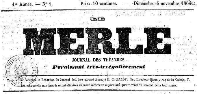 Photo (BnF / Gallica) de : Le Merle. Nîmes, 1864-[1865 ?]. ISSN 2106-153X.