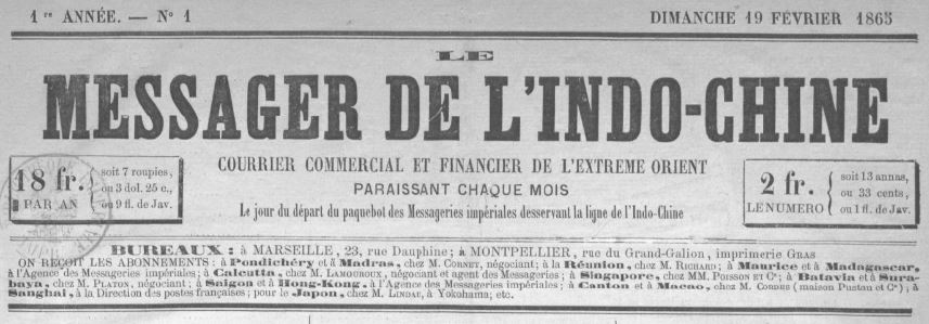 Photo (BnF / Gallica) de : Le Messager de l'Indo-Chine. Marseille, Montpellier, 1865. ISSN 2106-1866.