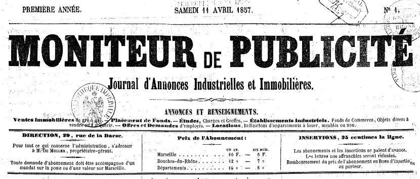 Photo (BnF / Gallica) de : Moniteur de publicité. Marseille, 1857. ISSN 2132-4492.