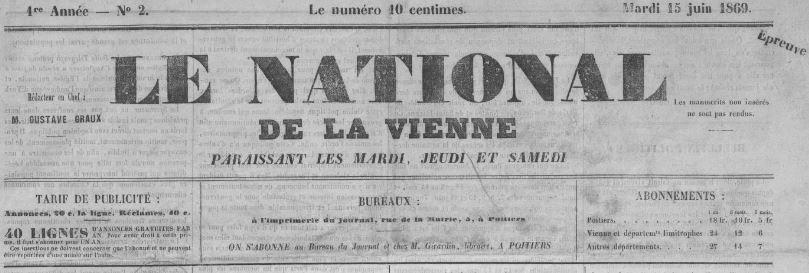 Photo (BnF / Gallica) de : Le National de la Vienne. Poitiers, 1869-1870. ISSN 2132-7637.