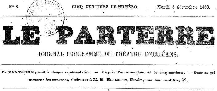 Photo (BnF / Gallica) de : Le Parterre. Orléans, 1863-[1863 ?]. ISSN 2106-1556.