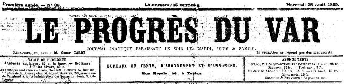 Photo (BnF / Gallica) de : Le Progrès du Var. Toulon, 1869-[1880 ?]. ISSN 2018-3429.