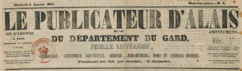 Photo (BnF / Gallica) de : Le Publicateur d'Alais et du département du Gard. Alais, [1844 ?-1845 ?]. ISSN 2135-6726.