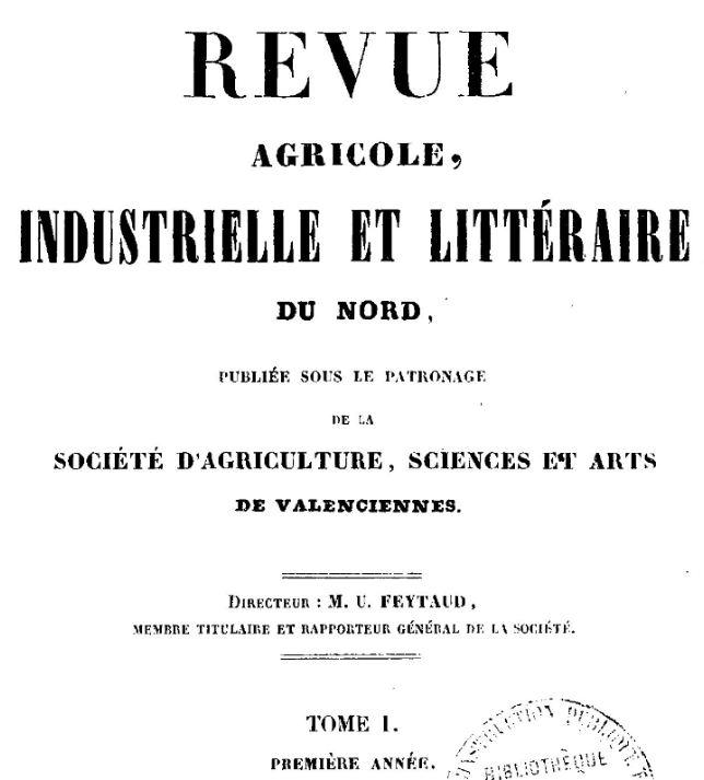 Photo (BnF / Gallica) de : Revue agricole, industrielle et littéraire du Nord. Valenciennes, 1849-[1938 ?]. ISSN 2017-6538.