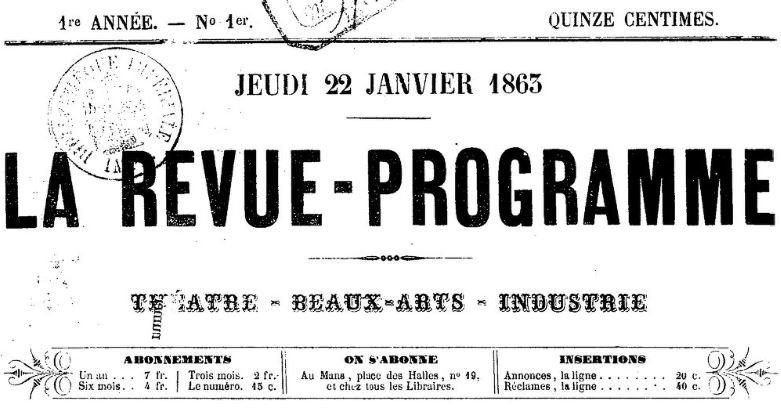 Photo (BnF / Gallica) de : La Revue-programme. Le Mans, 1863-1865. ISSN 2137-5143.