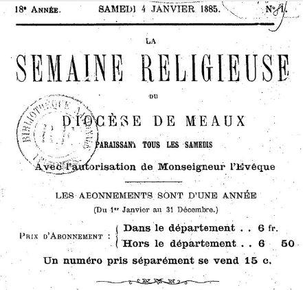 Photo (BnF / Gallica) de : La Semaine religieuse du diocèse de Meaux. Meaux, 1868-[1964 ?]. ISSN 2137-9858.