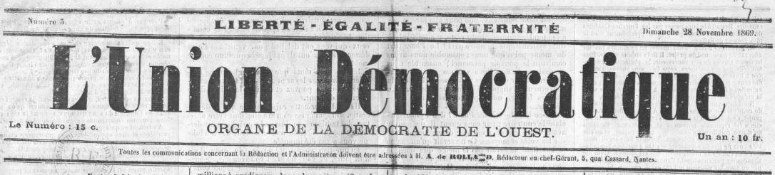 Photo (BnF / Gallica) de : L'Union démocratique. Nantes, 1869-1871. ISSN 2139-3354.